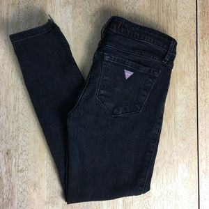 Guess Black Wash Ankle Zip Cropped Skinny Jeans